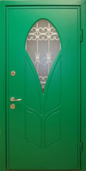 входные двери с зеленой покраской